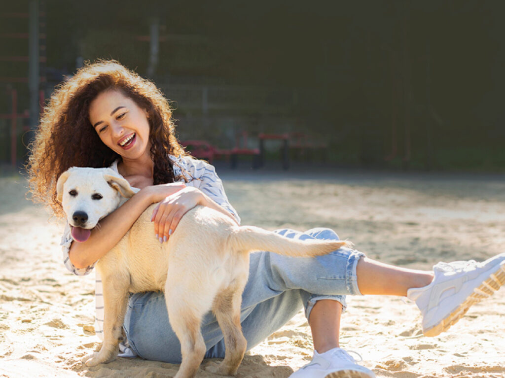 Caring girl with a Dog
