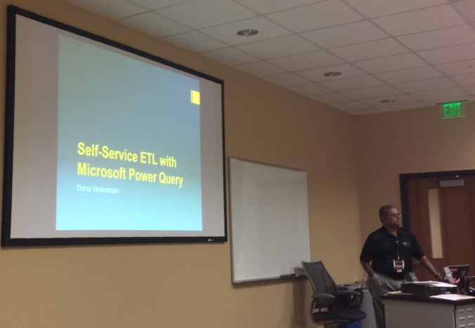 "Damodaran Venkatesan presenting ""Self-Service ETL with Microsoft Power Query"""