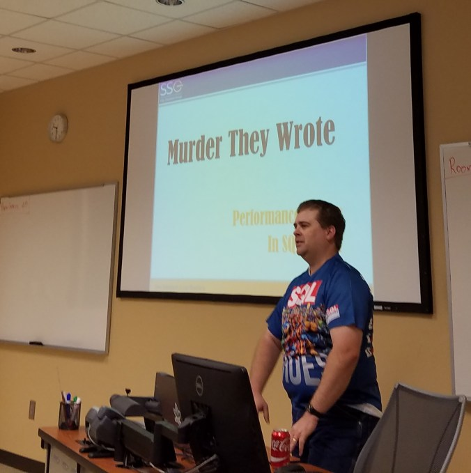 "Jason Brimhall presenting ""Murder They Wrote"" at SQL Saturday 521 - Atlanta."