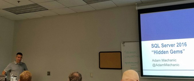 Adam Machanic presenting SQL Server 2016 Hidden Gems at SQL Saturday 560