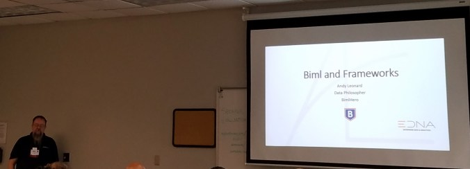 Andy Leonard presenting Biml and SSIS Frameworks at SQL Saturday 560