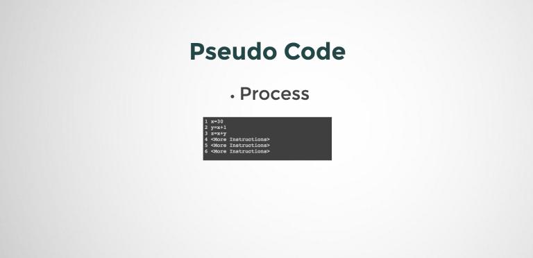 Represent Process in Pseudo Code