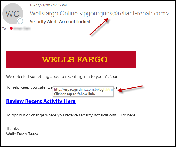 phishing scam from wells