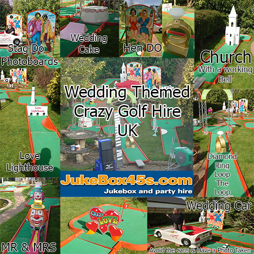 wedding themed crazy golf hire