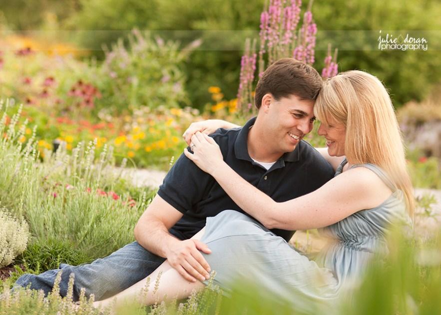 couple in flower garden