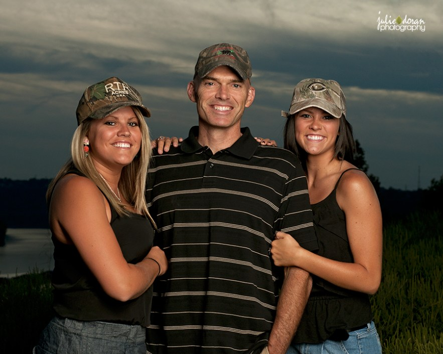 family portrait camoflauge hats