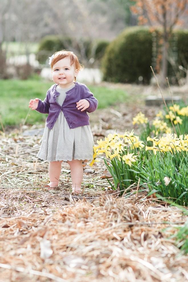 redheaded baby walking in daffodils
