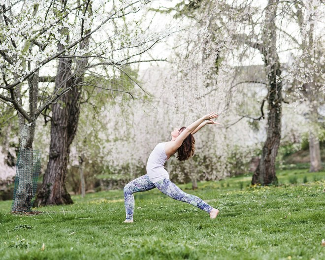 cherry blossoms yoga