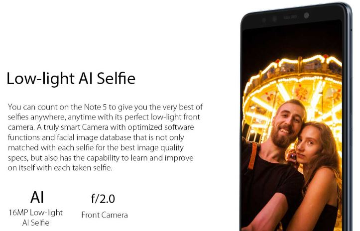 infinix note 5 front camera