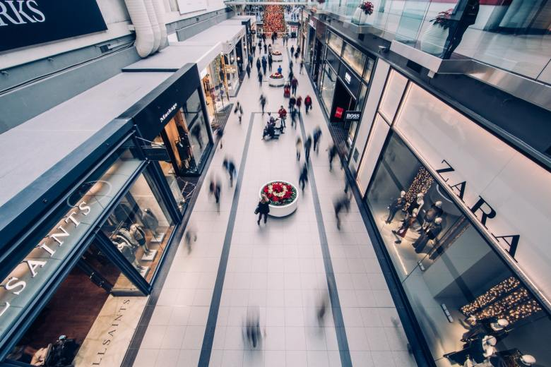 Multiple shops inside a shopping mall