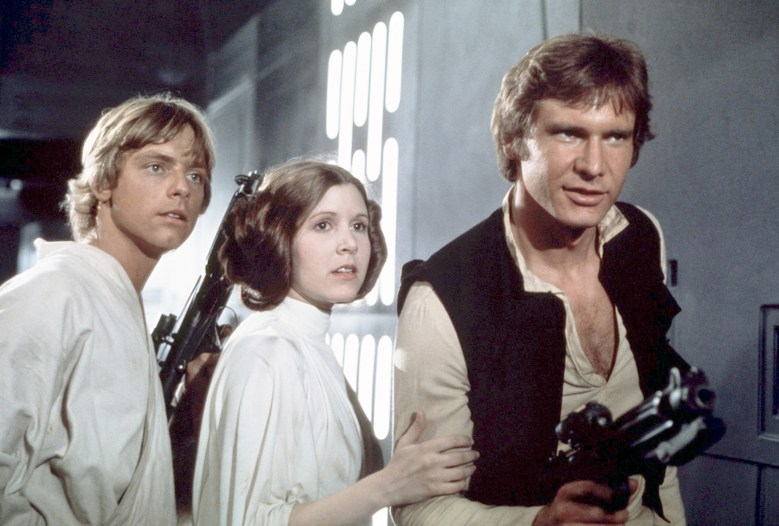 Luke Skywalker, Princess Leia and Han Solo from the 1977 film, Star Wars