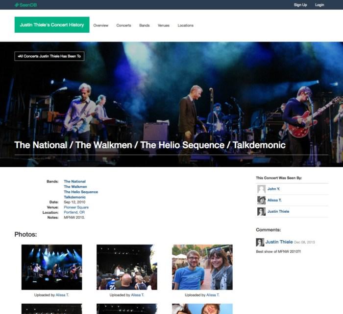 SeenDB Concert Page