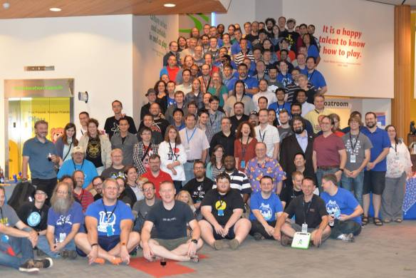 Group photo of Fedora Flock 2015 attendees at the Strong Museum of Play