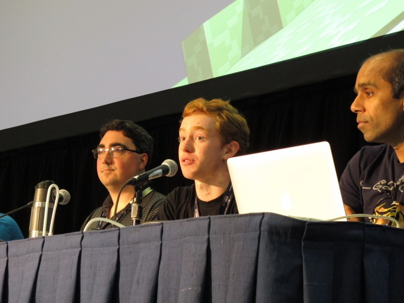 "SpigotMC project lead Michael Dardis answers a question at the ""Using Minecraft Mods for Teaching"" panel at MINECON 2016 in Anaheim, California"