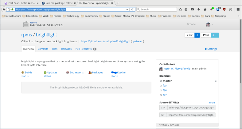 My first RPM in Fedora dist-git – woohoo!