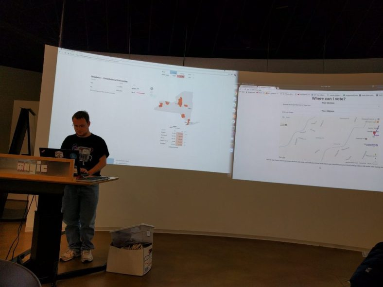 """Chris Bitler demonstrated his """"Where can I vote?"""" app at the end of the Election Night Hackathon"""