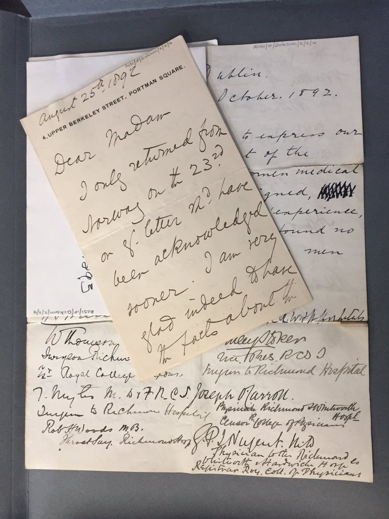 Manuscript letters of support by men from the RCSI archive for women being admitted to medical schools and accepted into the British Medical Association. #HeForShe!