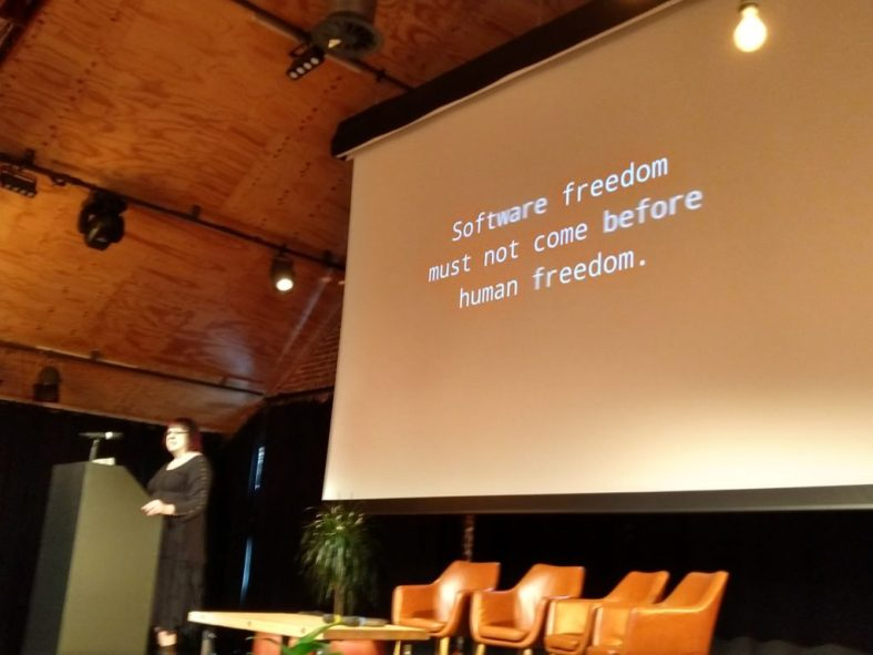 """Coraline Ada Ehmke on the Rising Ethical Storm in Open Source. Slide reads: """"Software freedom must not come before human freedom."""""""