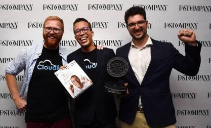 UNICEF Innovation Fund graduate company Cloudline is pictured accepting an award from Fast Company South Africa for Most Innovative Company of the year.