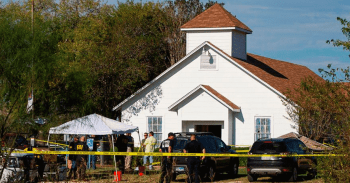 Sutherland Springs church with police in front investigating a church shootings