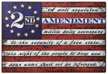 Second Amendment written across a flag for Second Amendment Foundation