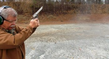 Bob Campbell shooting the Ruger Blackhawk revolver
