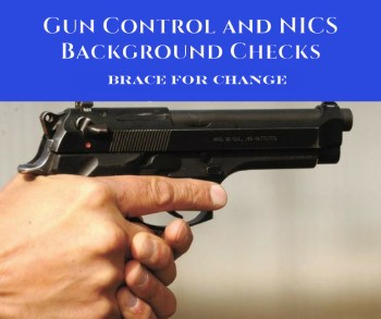 Gun Control and NICS background checks with hand holding a pistol
