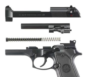 Fieldstripped Beretta M9 pistol