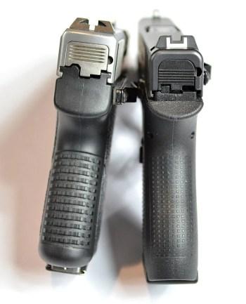 Kahr CM9 left, Glock 42 right