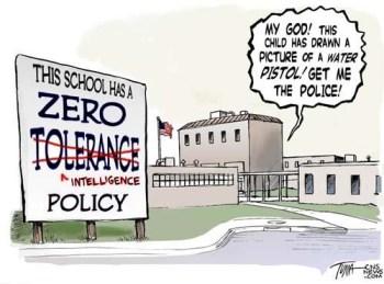Zero tolerance political cartoon