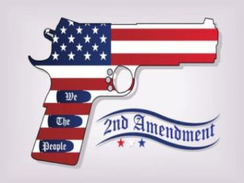 US flag patterned handgun with Second Amendment banner