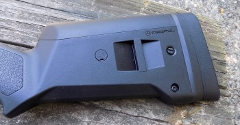 Stock on the Remington Model 870 Tactical Magpul shotgun