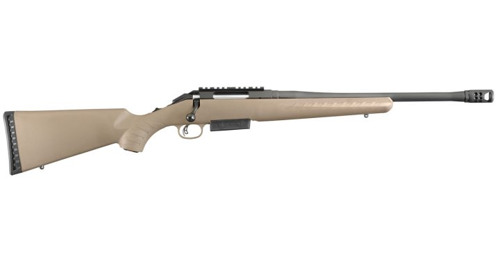 Ruger American .450 Bushmaster rifle with light brown stock