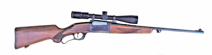 Savage 99 rifle with wood stock right profile
