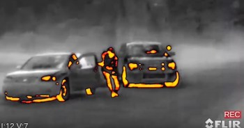 Thermal image of a suspect fleeing a car