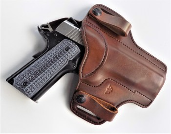 Ruger SR1911 pistol in a brown Wright Leatherworks holster