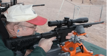 Dave Workman shooting the AR-15 from a shooting bench for FBI Uniform Crime Report
