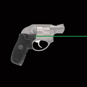 Revolver wearing green Crimson Trace laser grips
