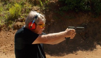 Bob Campbell shooting the Glock 35 two-handed
