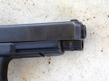 beveled nose of the Glock 35 pistol