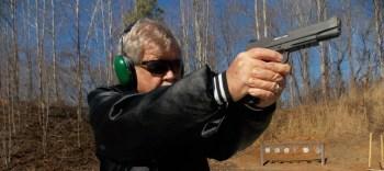Bob Campbell firing a 1911 pistol for Handgun Training.