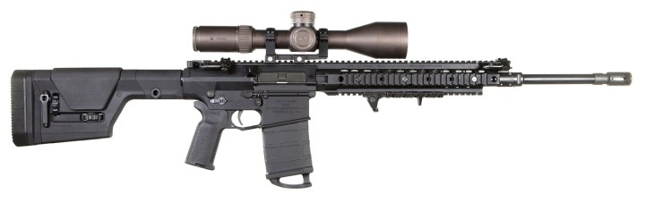 Magpul PRS stock on an AR 15 rifle profile right