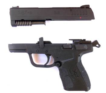 Springfield XDE with slide removed