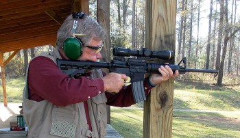 Firing the Ruger AR 5.56mm rifle from a solid rest