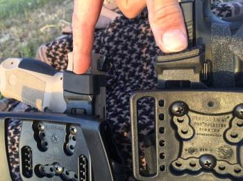 thumb pad on the Canik TP9 holster