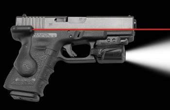 Pistol with a red laser grip and light rail