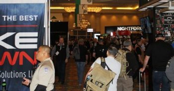 SHOT Show 2019 main floor entrance challenging gun reform