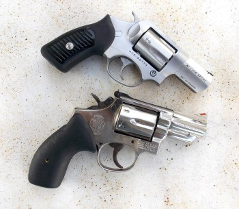 Two snubnose magnum revolvers with closed cylinders