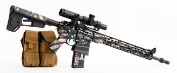 American flag coated AR-15 rifle