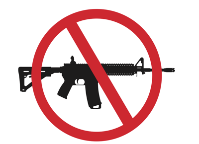Silhouette of an AR-15 rifle with a red circle bar for assault weapons ban